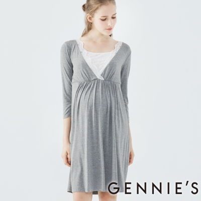 Gennies奇妮-慵懶甜美蕾絲長洋-(TPA23-深灰)