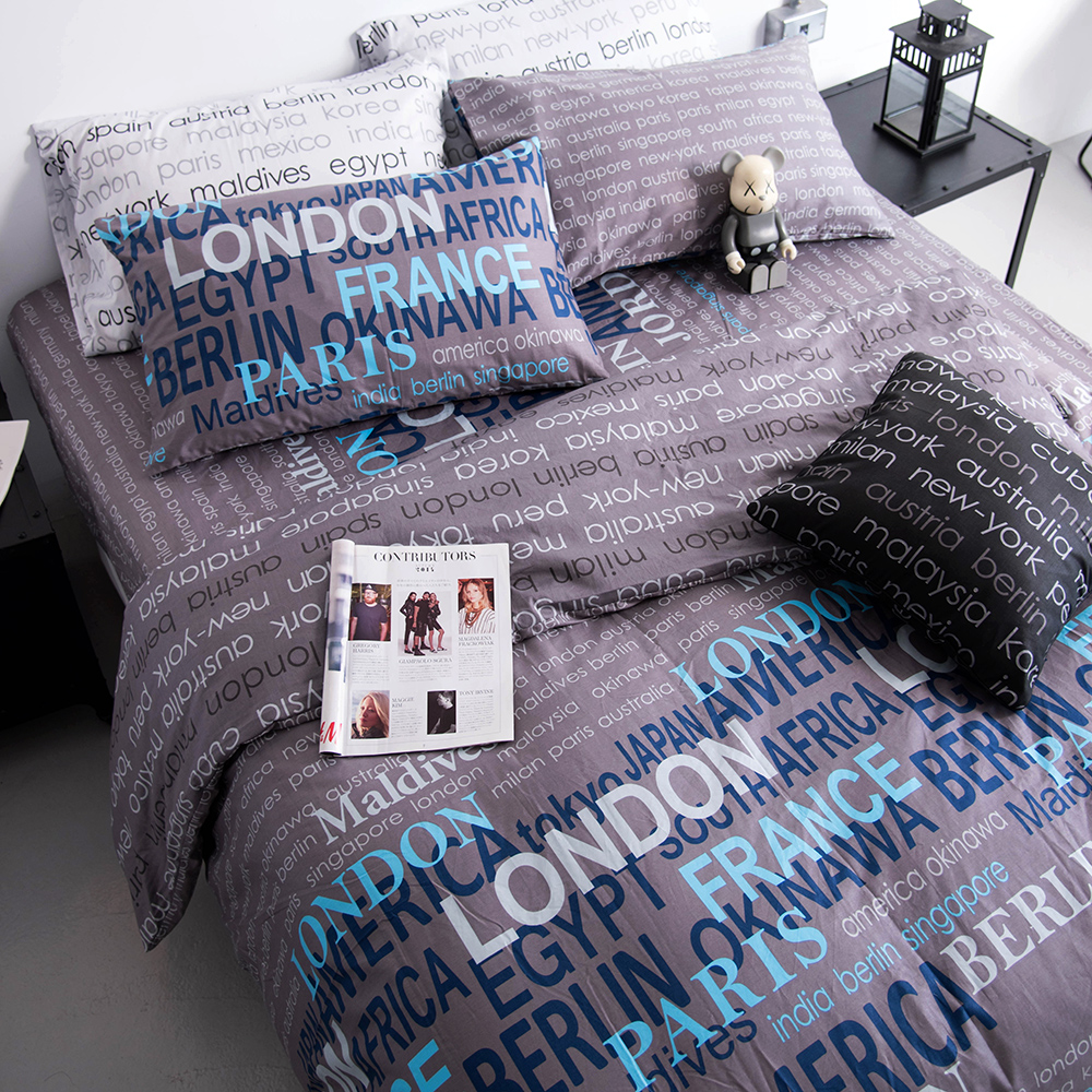 OLIVIA  約書亞 鐵灰 雙人全鋪棉床包冬夏兩用被套四件組 歐式枕套