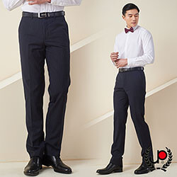 極品西服-修身直條紋仿毛平面西褲_藍白條(BS632-1)