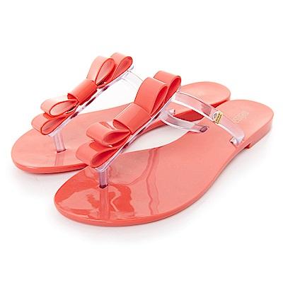 MELISSA 撞色蝴蝶結夾腳鞋-紅/白