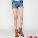 BOBSON 女款高腰燙鑽鋁牛仔短褲(藍210-58)