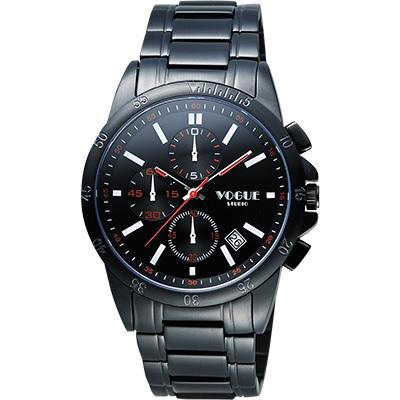 VOGUE 嶄新系列三眼計時腕錶-IP黑/40mm