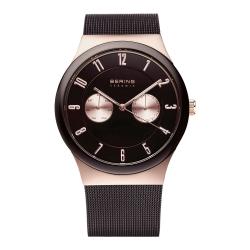 BERING丹麥精品手錶 雙眼顯示陶瓷錶框米蘭錶帶 深棕x玫瑰金39mm