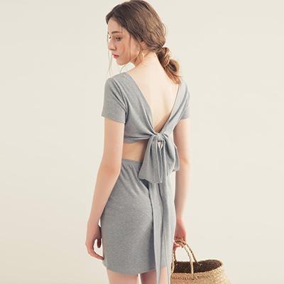 AIR SPACE 棉質美背綁帶合身洋裝(灰)