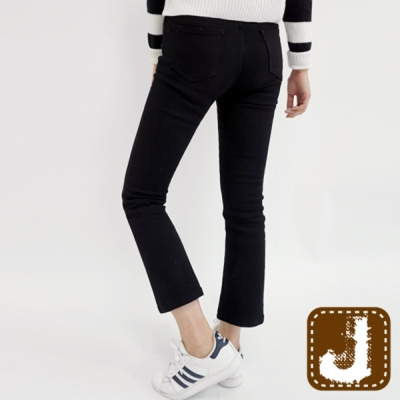 正韓 低腰九分窄管小喇叭褲-(黑色)100%Korea Jeans