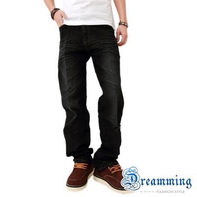 Dreamming 刷色壓皺伸縮中直筒褲