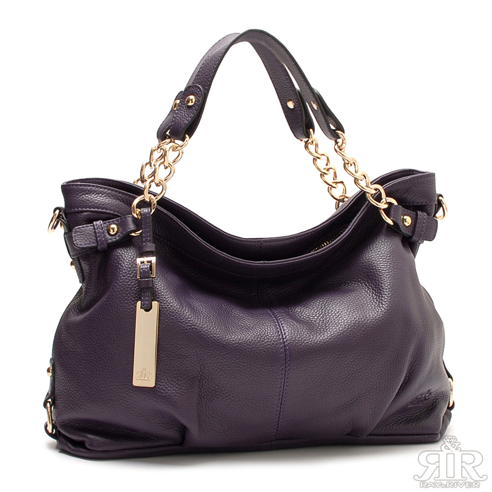 【2R】首爾Leather牛皮銅鏈垂墜包(羅蘭紫)