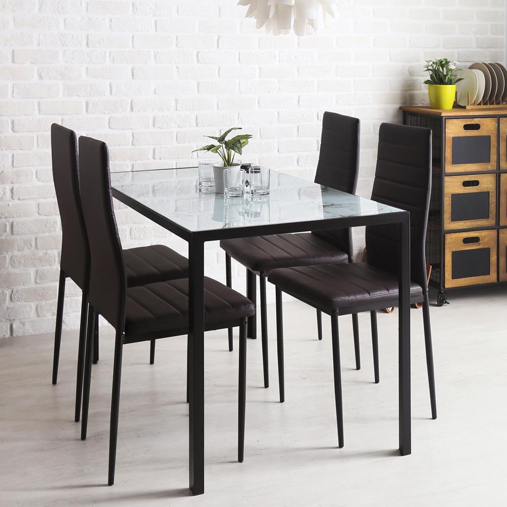 H&D Monica 莫尼卡簡約餐廳五件組_餐桌+餐椅