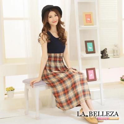 La Belleza橘色格紋拼接縮腰背心洋裝