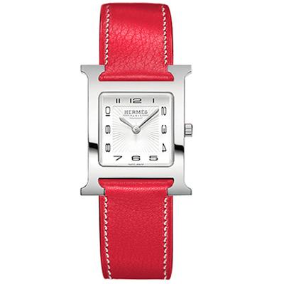 HERMES H-OUR 系列經典時尚腕錶-正紅色錶帶/25mm