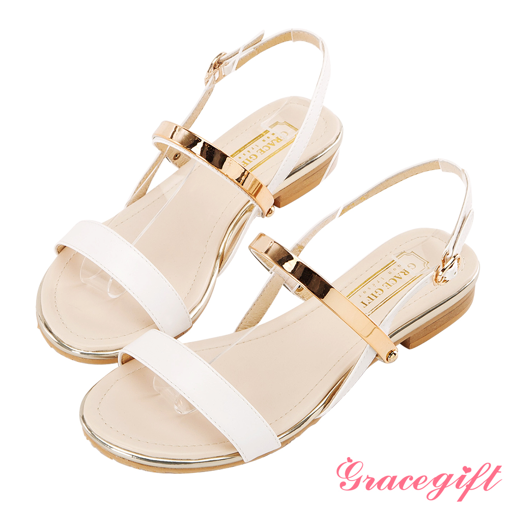 Grace gift-一字金屬踝帶夾心平底涼鞋 白