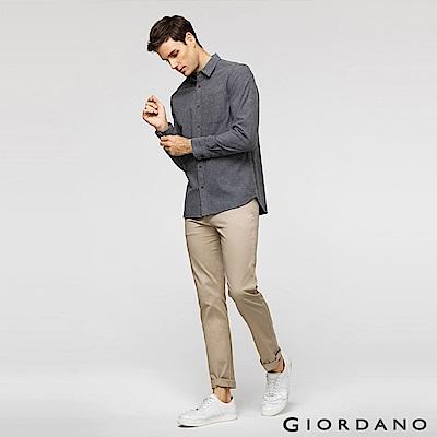 GIORDANO 男裝素色彈力棉四層腰頭休閒褲 -18 簡褐色