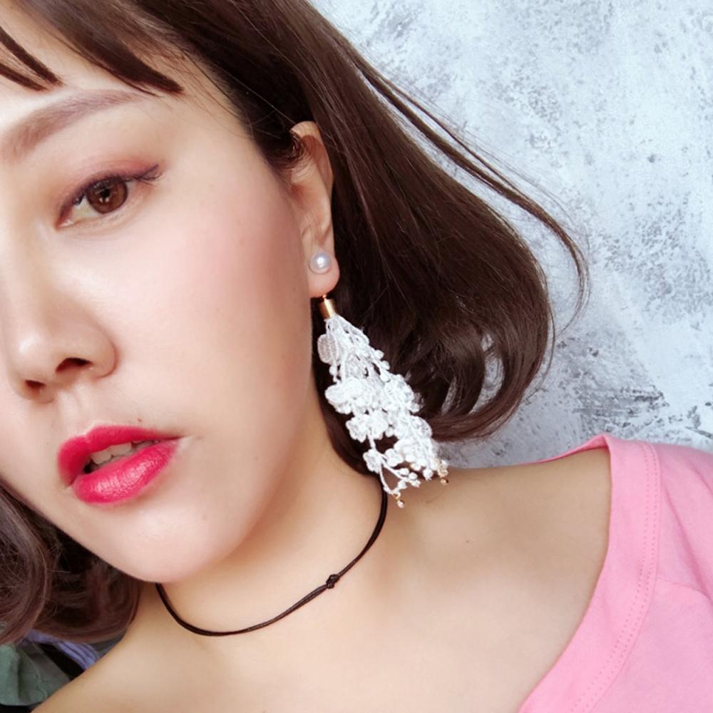 梨花HaNA 無耳洞韓國復古宮廷蘿莉塔蕾絲控珍珠長耳環 /耳針耳夾款選
