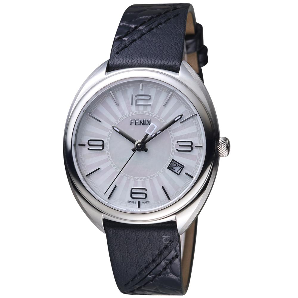 芬迪 FENDI Momento放射紋飾腕錶-35mm/黑