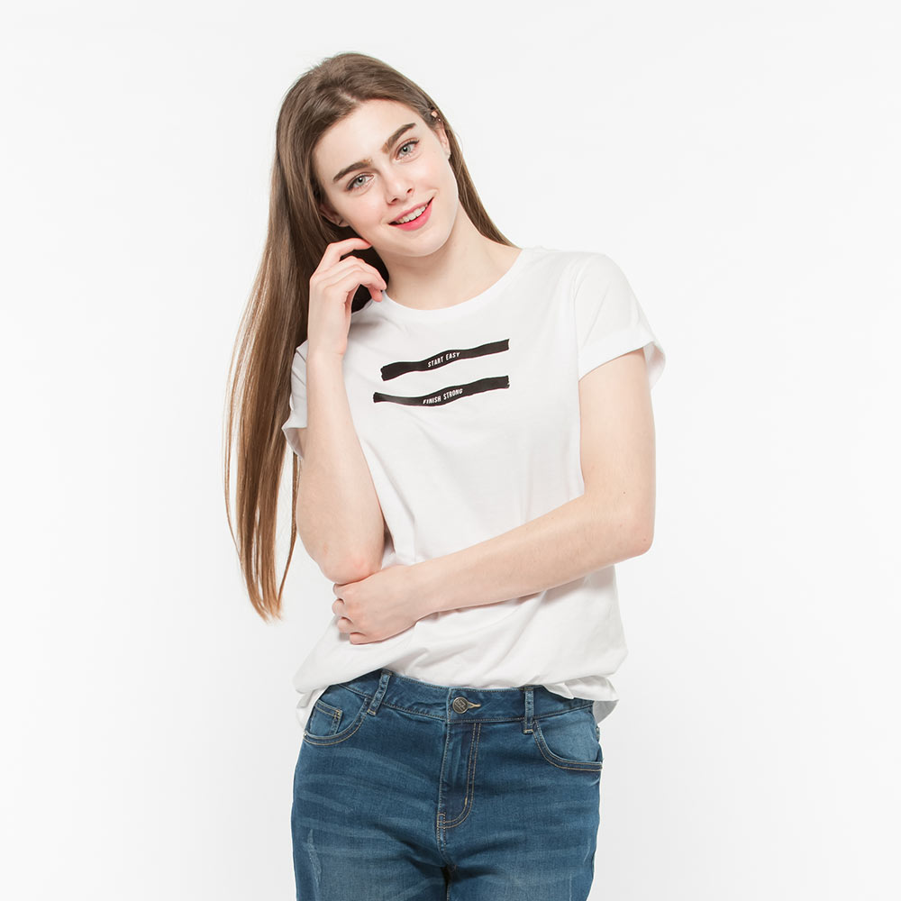 Hang Ten - 女裝 - 流行英文標語錐版T-Shirt- 白