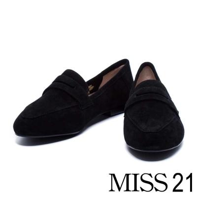 平底鞋 MISS 21 簡約可愛貓腳印麂皮平底樂福鞋-黑