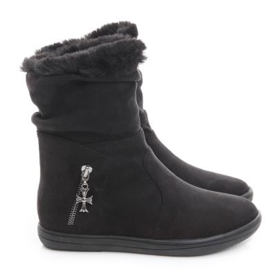 GDC溫暖-兩穿真皮絨布面十字架吊飾毛毛保暖中筒靴-黑色