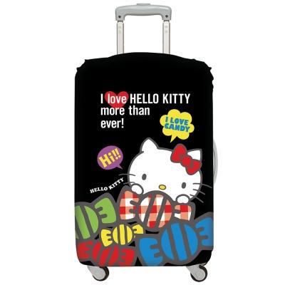 LOQI行李箱套 Hello Kitty酷黑M號 適用22-27吋行李箱保護套