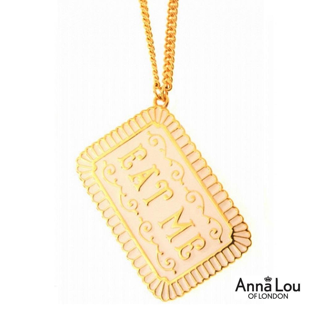 Anna Lou OF LONDON 倫敦品牌Eat Me 愛麗絲夢遊奶油餅乾金色長項鍊