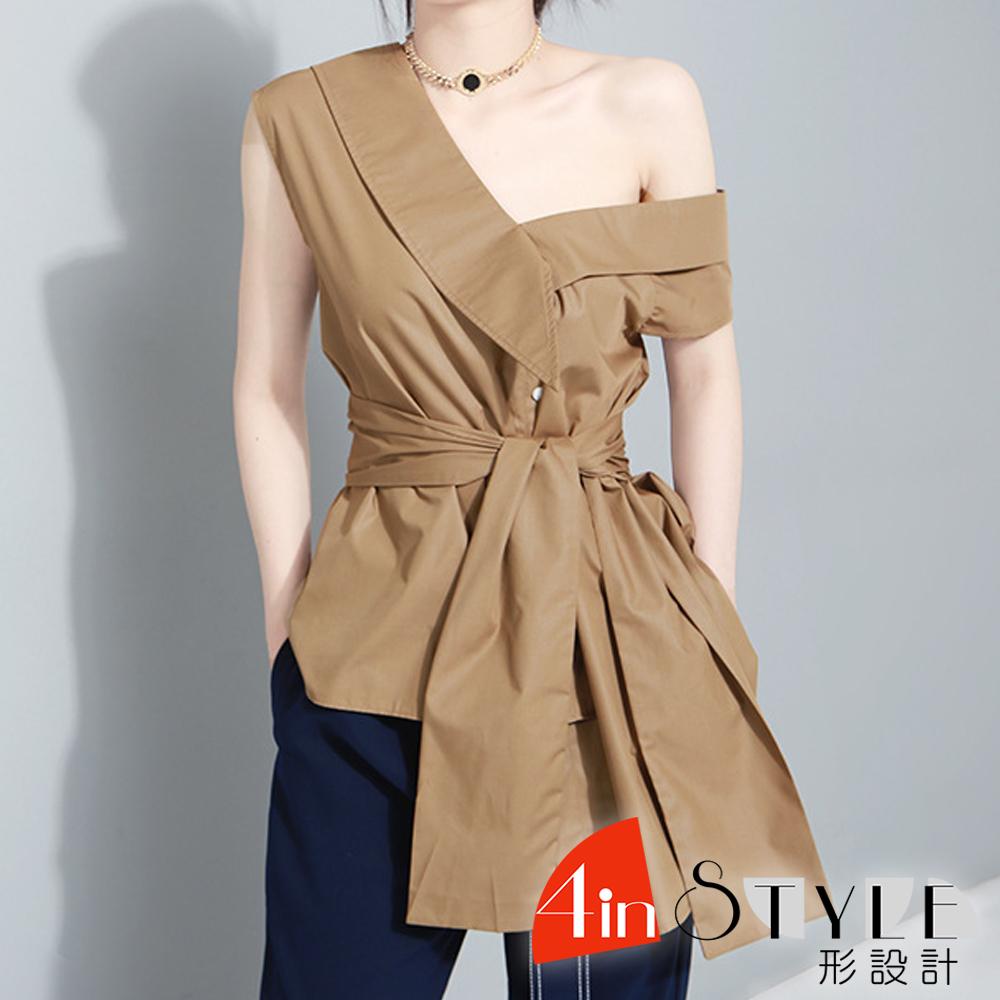 不規則斜肩袖大蝴蝶結綁帶上衣 (共二色)-4inSTYLE形設計