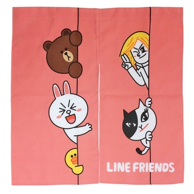 LINE FRIENDS HI!我在這裡門簾2入