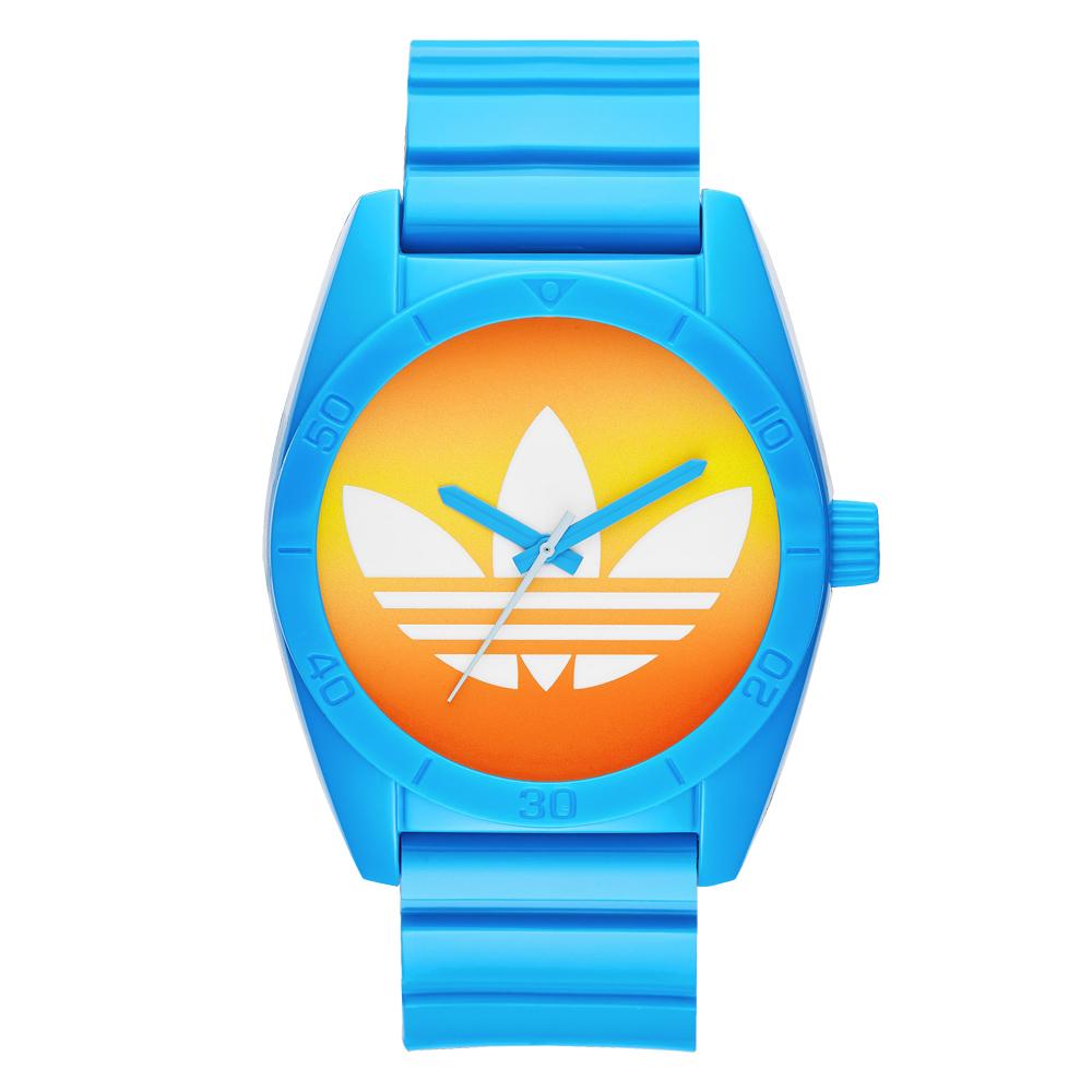 adidas 街潮繽紛三葉休閒腕錶-漸層x藍/40mm