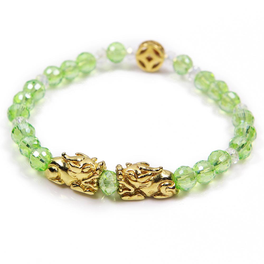 A1寶石  錢滾錢雙貔貅-水晶琉璃瑪瑙手鍊-強力招財桃花旺貴人運-贈同款粉色手鍊