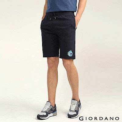 GIORDANO 男裝馬頭立體刺繡毛巾布抽繩休閒短褲-66 標誌海軍藍