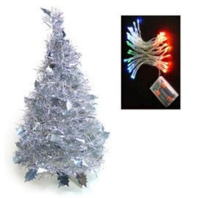 2尺(60cm)創意彈簧摺疊聖誕樹(銀色系)+LED50燈電池燈(彩光)