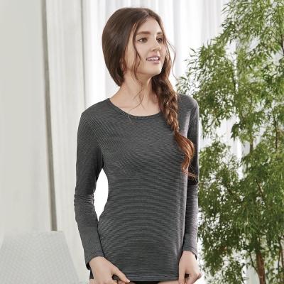 曼黛瑪璉 條紋圓領長袖保暖衣M-XL(條紋黑)