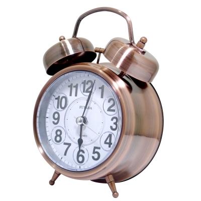 復古金屬鐵打鈴雙耳貪睡鬧鐘 W-729 (紅銅色)