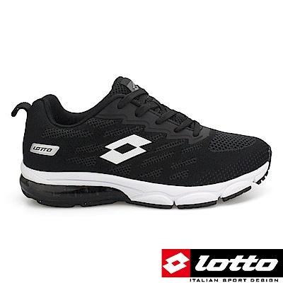 LOTTO 義大利 女 WAVE KNIT 2 編織氣墊跑鞋-黑