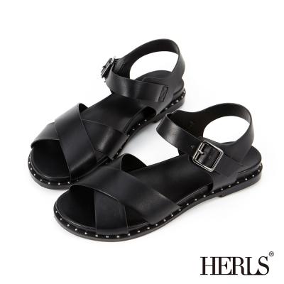 HERLS 個性街頭 交叉條帶鉚釘涼鞋-黑色
