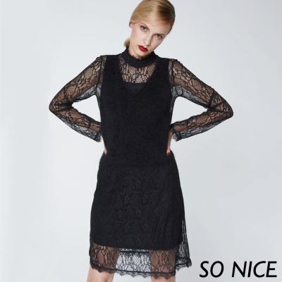 SO NICE浪漫蕾絲拼接洋裝