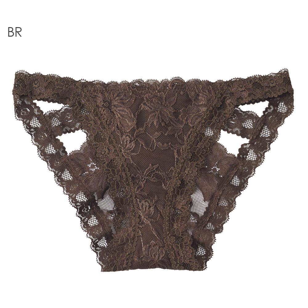 aimerfeel 性感緞帶蕾絲內褲-褐色