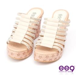ee9~璀璨迷人~花漾年華鑲嵌水鑽防水台超輕楔型跟露趾拖鞋~米色