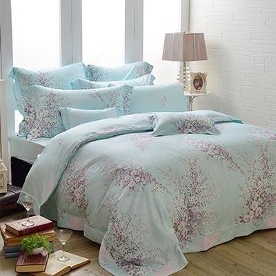 義大利La Belle 綠堤湖畔 雙人天竹四件式防蹣抗菌舖棉兩用被床包組