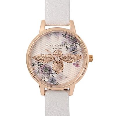 Olivia Burton 英倫復古手錶 蜜蜂花卉刺繡 灰色真皮錶帶 玫瑰金框30mm