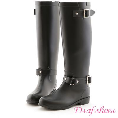 D+AF 經典首選‧雙釦環後拉鍊長筒雨靴*黑