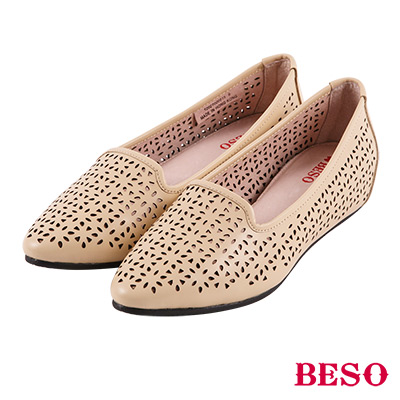 BESO 簡約摩登 雕花沖孔內增高全真皮樂福鞋~米
