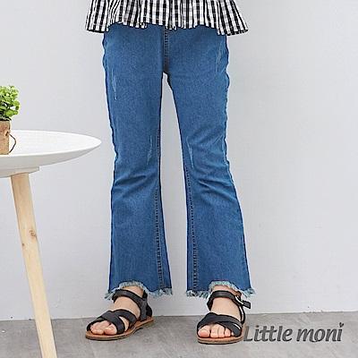 Little moni 超彈性丹寧流蘇喇叭褲 (牛仔藍)