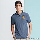 GIORDANO 男裝勝利獅王3D刺繡彈力萊卡POLO衫-44 藍白混色紗