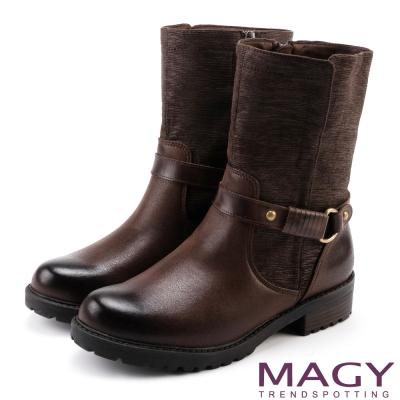 MAGY 個性街頭  皮帶扣環異材質拼接短筒靴-咖啡