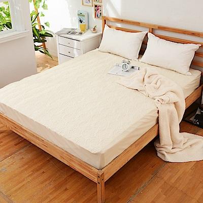 JOY 花紋床包式專利雙人防水保潔墊-嫩鵝黃