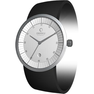 OBAKU 極簡原味主義時尚腕錶-銀白