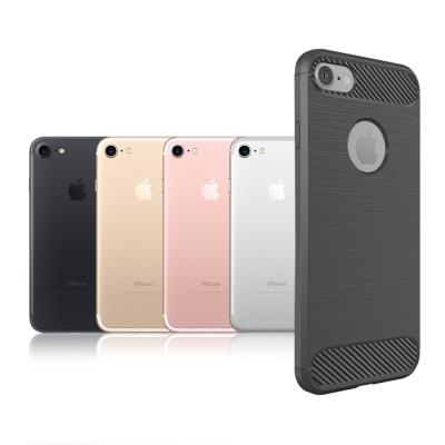VXTRA iPhone 8/iPhone 7 防震時尚拉絲紋軟性手機殼 墨色灰