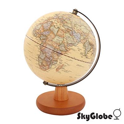 SkyGlobe 8吋仿古海洋日式木質底座地球儀(英文版)