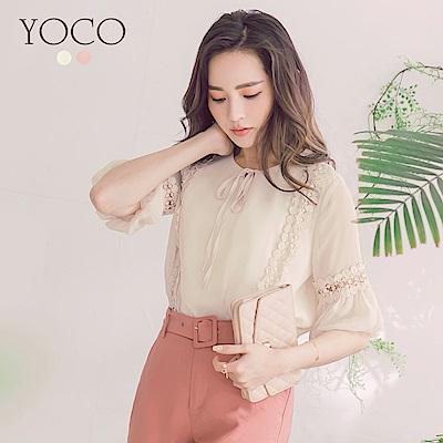 東京著衣-yoco 微甜日常蕾絲拼接泡泡袖綁帶上衣-S.M.L(共二色)