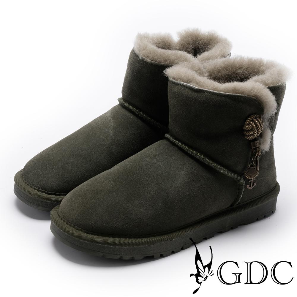 GDC-溫暖毛滾邊銅釦飾牛皮雪靴-綠色