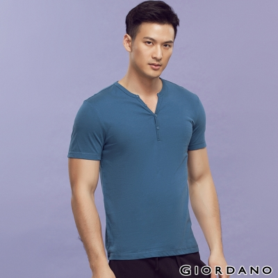 GIORDANO-男裝素色純棉亨利領短袖TEE-73深寶藍